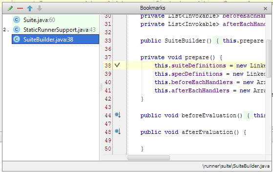 intellij bookmark popup