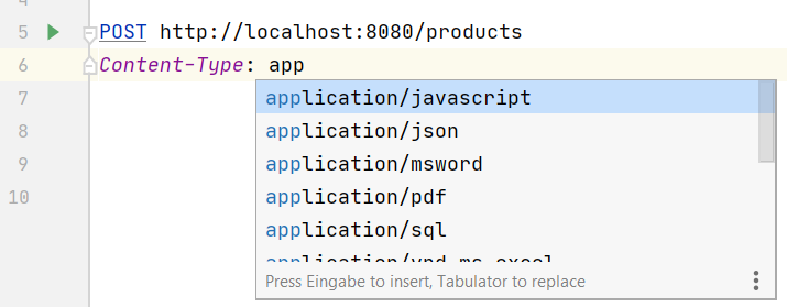 IntelliJ showing Syntax-completion for HTTP request headers