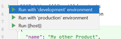 IntelliJ showing environment in run options for HTTP request